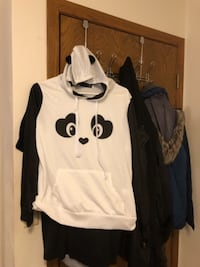 white and black Nike pullover hoodie null