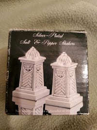 2-Set of  Silver-Plated  Salt & Pepper Shakers NEW in box GSSLP042