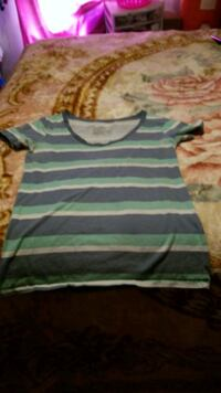 green and black striped scoop-neck t-shirt