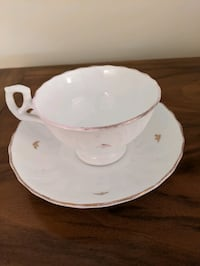 Pink and white China Cup and Saucer Olney, 20832