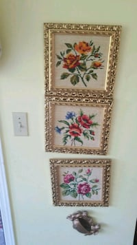 three brown wooden framed flower paintings Montréal, H3R 2E6