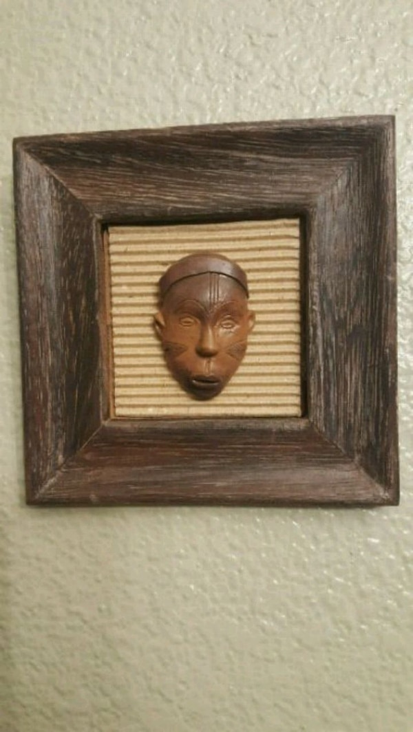 Wood Plaque African Mask Tribal Art Wall Decor