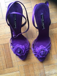 Designer shoes. Pair of ankle strap shoes. Ralph Loren. Toronto, M2M 3T3