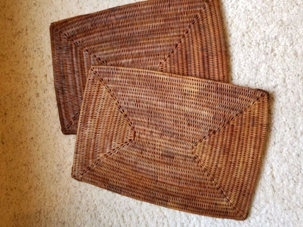 Set of 2 hand woven placemats, hot plates- ea.