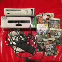 Xbox 360, cables, Kinect, some games Irvine, 92617