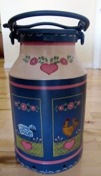 Antique milk can - country scene beautifully hand painted by local artist 3128 km