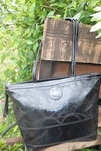 COACH Black Patent Leather Tote Bag Maple Ridge