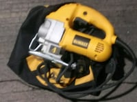 yellow and black DeWalt corded power drill