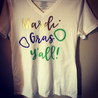 white, brown, and green Mardi Gras Y'All printed v-neck t-shirt Prairieville, 70769