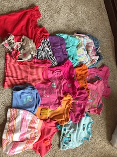 toddler's multicolored shirts
