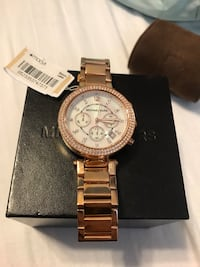 Round rose gold michael kors chronograph watch with link bracelet Fontana, 92335