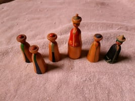 Vintage USSR wood painted figurines Chess pieces??