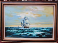 Large oil painting on canvas, seascape,Sailing ships on the ocean,Signed,framed Framingham