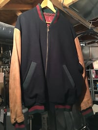 black and brown full-zipped jacket large