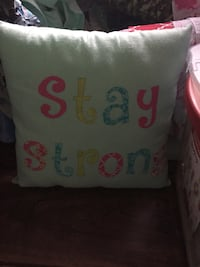 white stay strong pillow