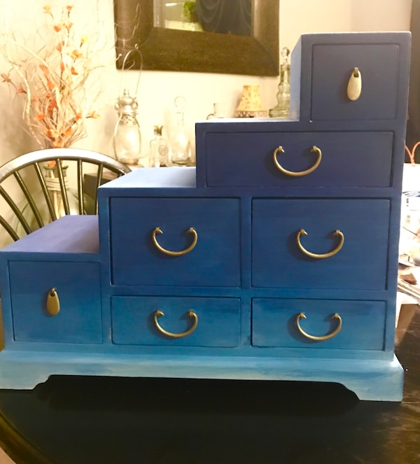 Blue Wooden Storage Box Great For On Top Of Dresser Has 8 Deep Drawers