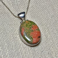 Vintage Sterling Silver Dragons Blood Jasper Pendant & Sterling Chain Ashburn, 20147