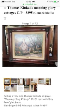 Thomas kincade, gallery proof. Framed Council Bluffs, 51501