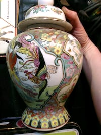 white, green, and red floral ceramic vase 3737 km