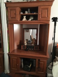 Brown wooden cabinet with hutch 42 inch tv stand corner unit Gatineau, J8T