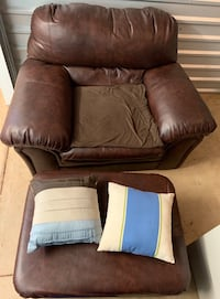 Large Fluffy Brown Chair with Matching Ottoman