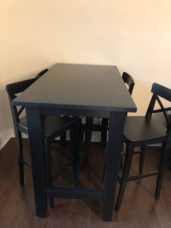 Super Ikea Stornas Bar Table With 4 Ikea Ingolf Bar Chairs Andrewgaddart Wooden Chair Designs For Living Room Andrewgaddartcom