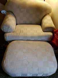 gray and white padded armchair.  Chair and a half. Larsen, 54947