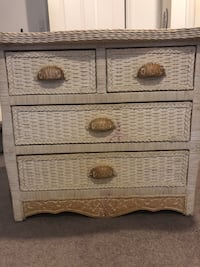Wicker whitewash small dresser. Dresser has pink spots on bottom drawer area. But otherwise a nice sturdy piece. Putnam Valley, 10579