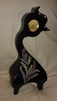 black flower printed curve analog clock Stratford, ON, Canada