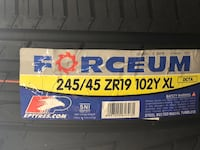 245/45/19 new tires Forceum set of 4 for $350.00 a set no mounted no balance or sale by piece for $90.00 each tire no mounted no balance. Richardson, 75081