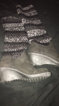 pair of gray-and-black boots