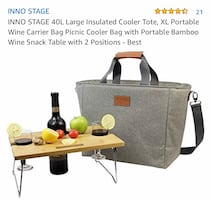 New wine/picnic cooler bag w/bamboo table.