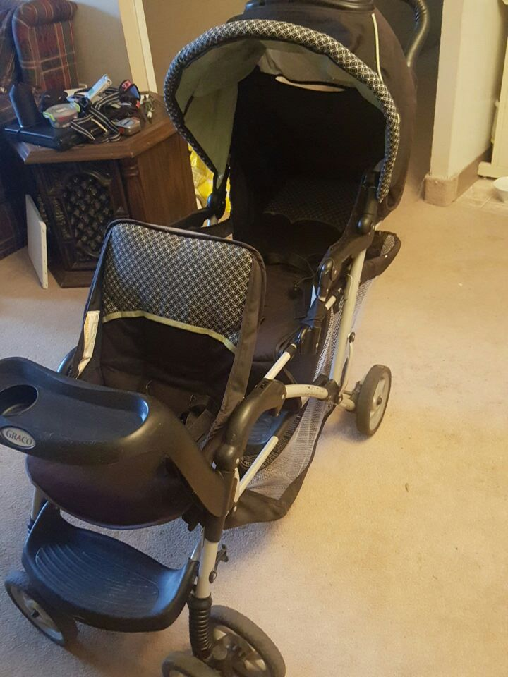 black and white Graco tandem stroller