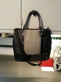 black and gray leather two way tote bag
