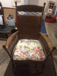 Vintage Wicker Chair With Cushion