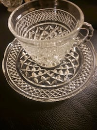 Vintage Anchor Hocking punch cups with saucers