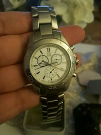 round silver-colored chronograph watch with link bracelet Washington, 20015