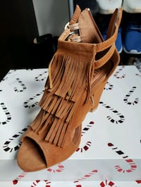pair of brown open-toe wedge sandals Hamilton