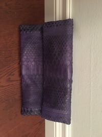 Purple snakeskin clutch