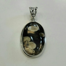 Peanutwood pendant in sterling silver