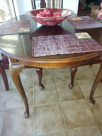 Dining table with 6 chairs wood red burgundy