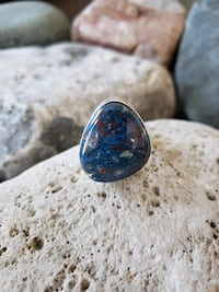 925 Sterling Silver Natural Azurite Stone Ring - Size 8