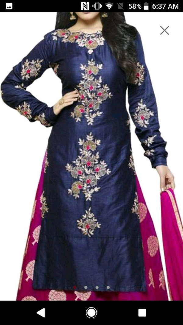 women's blue and red floral dress
