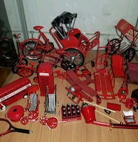 Collection of Red Metal Display Items. Montréal, H4J 2G4