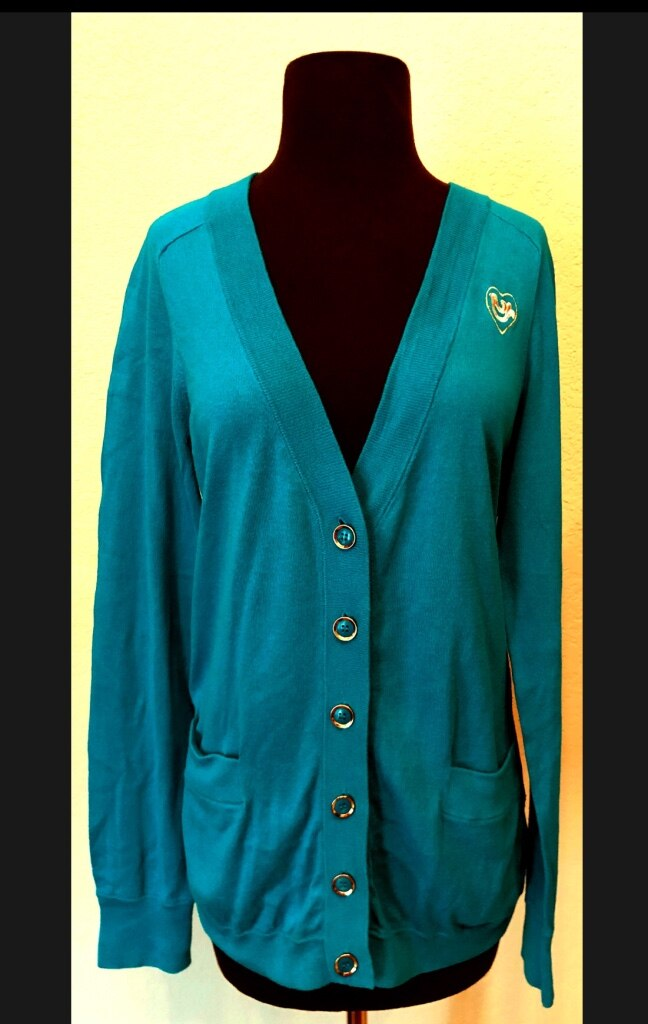 Photo LAST WEEK Marc Jacobs Teal Blue Cotton V-Neck Cardigan Sweater L Large