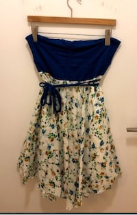 Strapless Blue and White Floral Dress Size M-L TORONTO