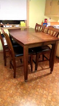 rectangular brown wooden table with six chairs dining set Mayville, 53050