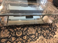 Glass mirror coffee table