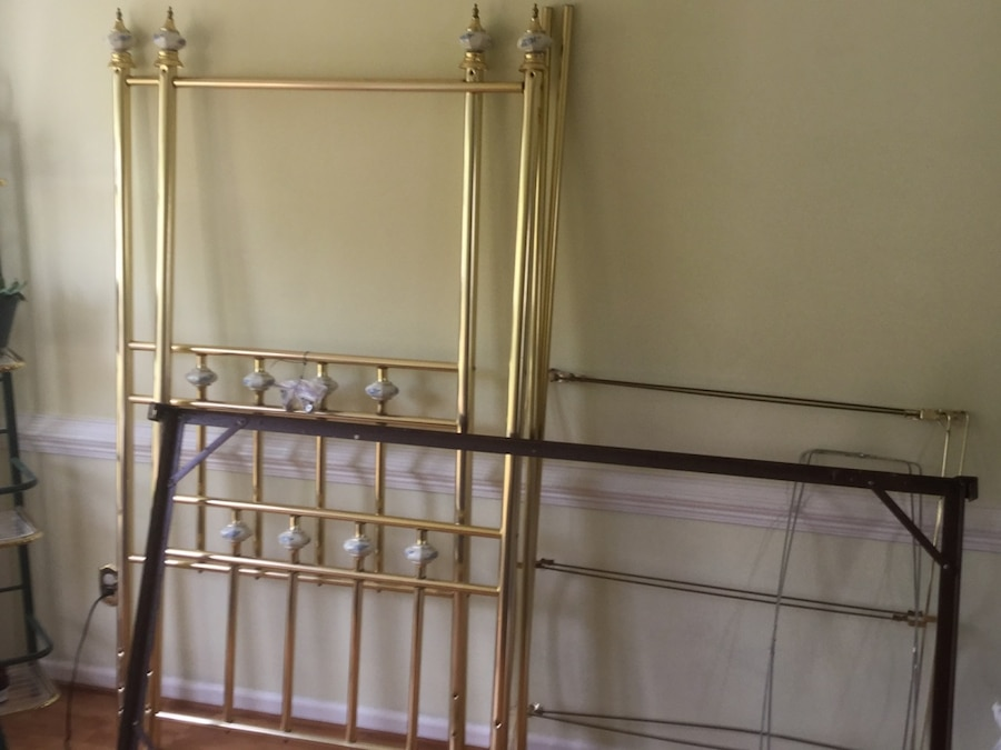 Used Twin canopy bed metal with porcelain finials for sale in Trenton - letgo & Used Twin canopy bed metal with porcelain finials for sale in ...