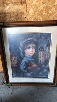 brown wooden framed painting of woman Huntley, 60142